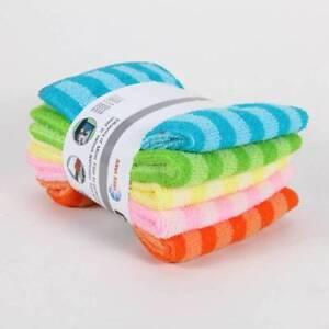 5-STUCKE-Wasser-Kueche-Bunte-Speisen-Streifen-Handtuch-Tuch-Platz-Mikrofaser