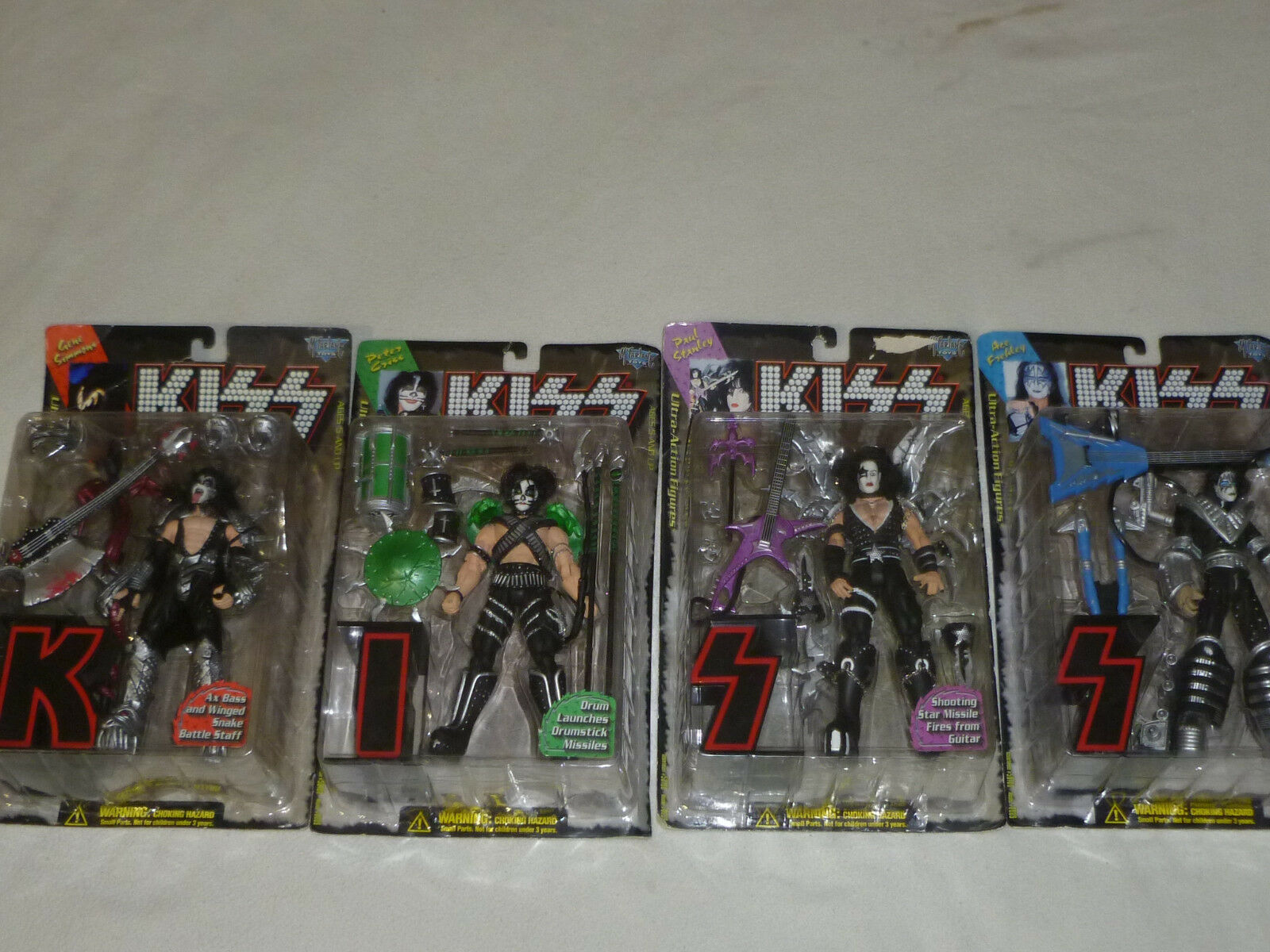 NEW ON CARD KISS FIGURE LOT GENE SIMMONS PETER CRISS PAUL STANLEY MCFARLANE TOYS