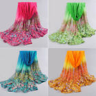 Women Floral Print Lady Soft Long Neck Large Scarf Wrap Shawl Voile Stole