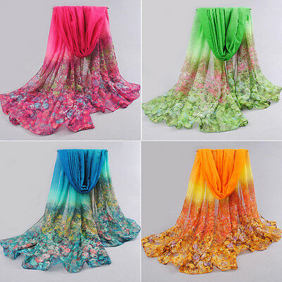 Women Floral Print Lady Soft Long Neck Large Scarf Wrap Shawl Voile Stole