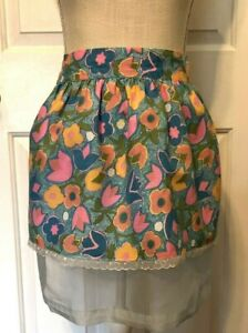 Vintage 60s Pink Yellow Blue Floral Handmade Apron