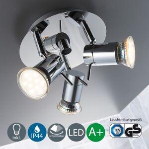 Bad-Deckenlampe LED Bad-Leuchte 3er Außen-Strahler IP44 Badezimmer ...