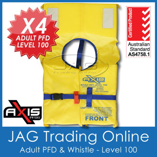 4 x AXIS ADULT PFD1 LIFEJACKET LEVEL L100 Standard Life Jacket & SAFETY WHISTLE