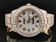 28 Ct New Mens Full Diamond Rose Gold Rolex Datejust Date Just 2 II 45MM Watch