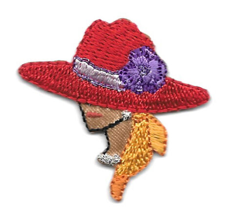 Dark Complexion SMALL Red Hat Lady Iron On Applique Patch Left