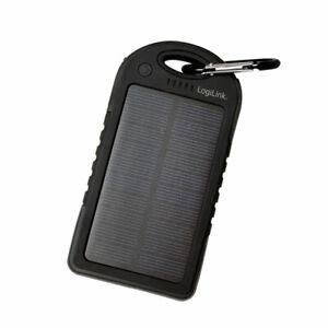 LogiLink Solar Ladegerät Powerbank 5000mA Ladegerät Zusatz Akku Batterie 2x USB