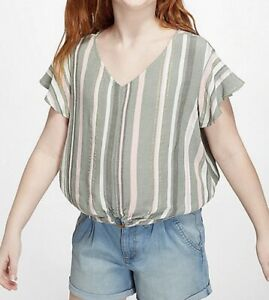 NWT-Justice-Girls-Gray-Pink-Gold-Flutter-Sleeve-Ring-Hem-Top-Size-8