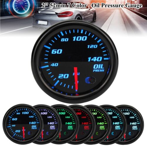 "Universal 2/"" 52mm 7 Color LED Electronic 140PSI Oil Pressure Gauge Car Meter US"