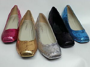 9ca5c288fd77 Women s Ladies Low Heel Sequin Shoes - Pink Gold Silver Black Blue ...