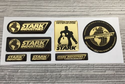 Iron Man Stark Industries Tony GOLD Chrome 3d domed emblem decal stickers
