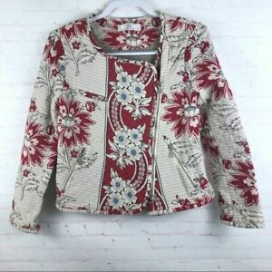 Zara-TRF-Women-039-s-Size-L-Floral-Quilted-Asymmetrical-Zip-Jacket-Cropped