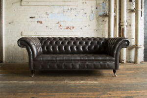 Details about HANDMADE 3 SEATER VINTAGE EARTHY GREY LEATHER CHESTERFIELD  SOFA COUCH CHAIR