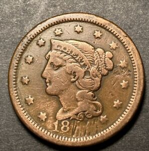 Braided-Hair-Large-Cent-1c-Nice-Details-Collectible-Type-Coin-Damaged