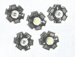 5x-1-Watt-High-Power-LED-auf-Platine-warm-weiss-kaltweiss-blau-rot-gruen