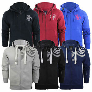 Mens-Hoodie-Crosshatch-Ribbler-Zip-Up-Hooded-Jacket-Pullover-Jumper-Sweatershirt