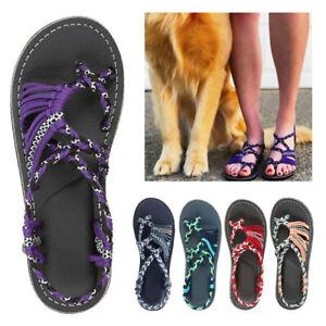 Bohemian-Flat-Flip-Flops-Sandals-Summer-Women-Bandages-Beach-Shoes-Size-New