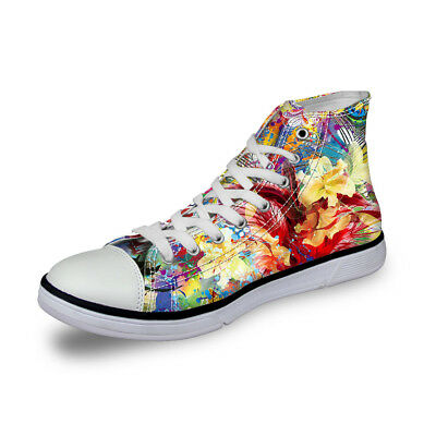 6a920b41fe262 Summer Fashion Womens High Top Canvas Shoes OX Sneakers Floral Flower Girls  Shoe | eBay