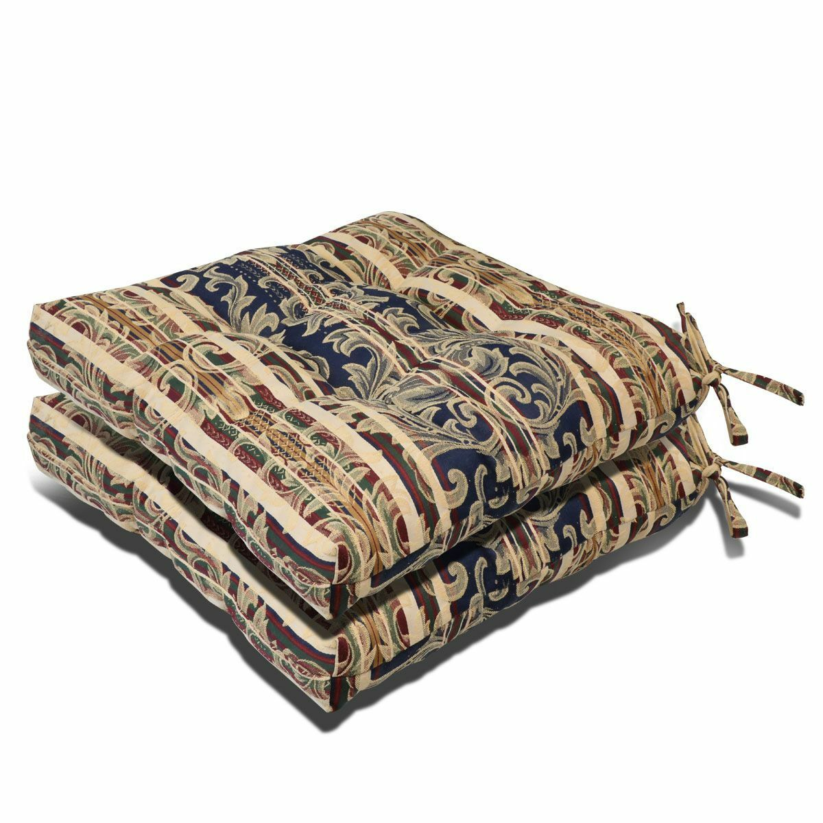 set of 2 made in usa outdoor indoor pretty wicker seat cushion seat pad ebay. Black Bedroom Furniture Sets. Home Design Ideas