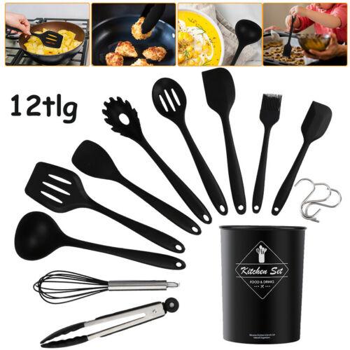 Küchenhelfer Silikon Kochbesteck Zuhause Küchenutensilien schwarz 12 tlg set