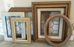 Vintage  Wood PICTURE FRAME Lot Recycle Arts Crafts Project Deco gold 4x6-8x10""