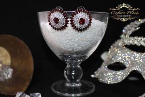 joyeria-nupcial-boda-Pendientes-de-boton-Plata-Rojo-Transparente-luxury