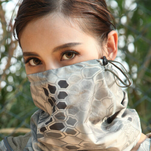 Anti-UV Camo Neck Gaiter Moisture Wicking Bandana Head Wrap Tube Half Face Mask