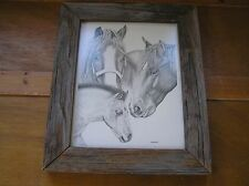 Dick Bender Signed Pencil Drawing of Three Horses Family Print Picture in