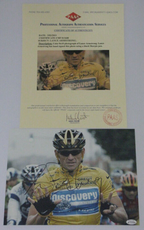 LANCE ARMSTRONG Hand Signed 8'x10  Photo + COA MF013448