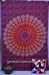 Indian-Bordeaux-Tapisserie-Mandala-Hippie-Hippy-Tenture-Murale-Dortoir