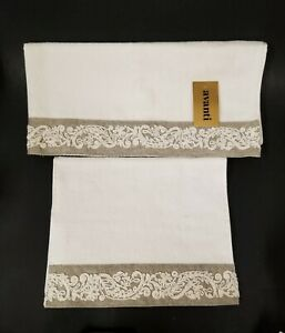 NEW-AVANTI-EMBROIDERED-IVORY-CREAM-TAUPE-GRAY-COTTON-HAND-TOWELS-FINGERTIP