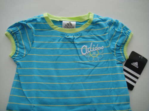 ADIDAS NWT Toddler Girls Dress Blue Lime Green Stripe Ruffle Tennis Play 2 2T