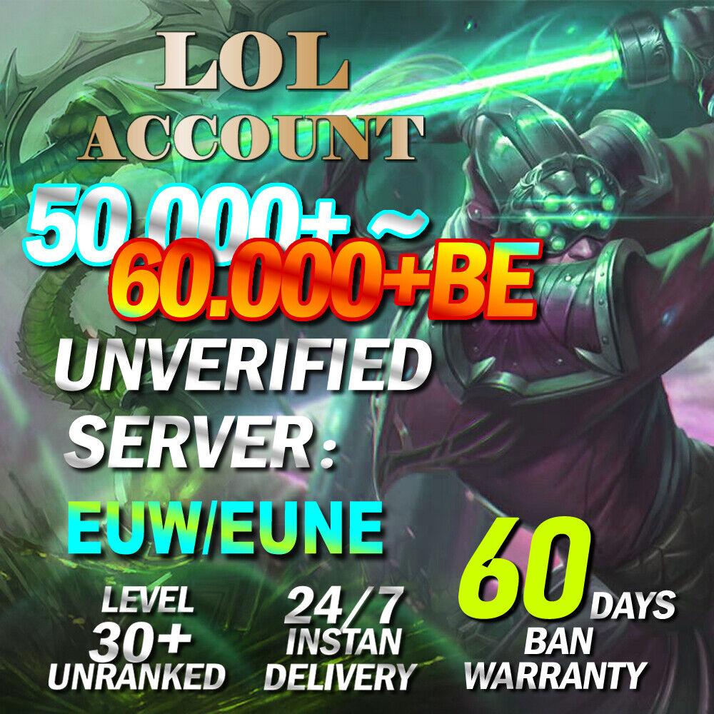 50K League of Legends Account EUW EUNE LOL Smurf 50,000+ BE IP Level 30 Unranked