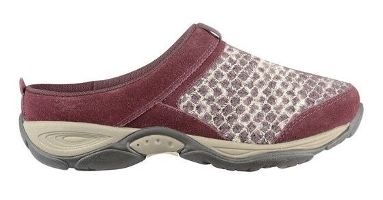 Easy Spirit Ezcool clogs mules wine suede leather sweater knit sz 12 Med NEW