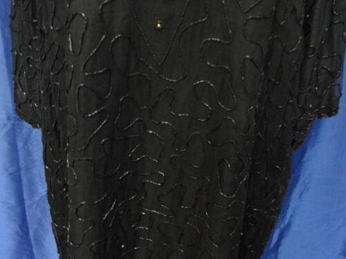 Mit Handarbeit Oberteil Pailetten Shirt Schwarz Exclusiv Auf Bestickt Seide Xl aPqwO6tw