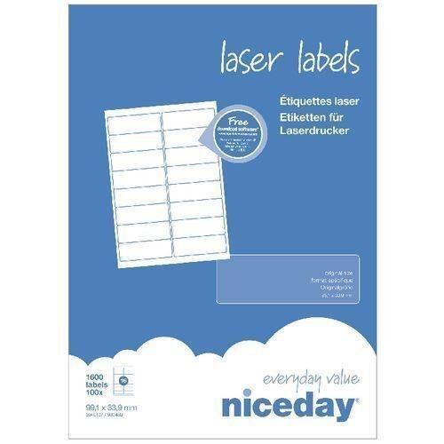 Niceday Laser Labels 16 Per A4 Sheet 99.1 x 33.9mm Box of 1600 Labels V3XZ#
