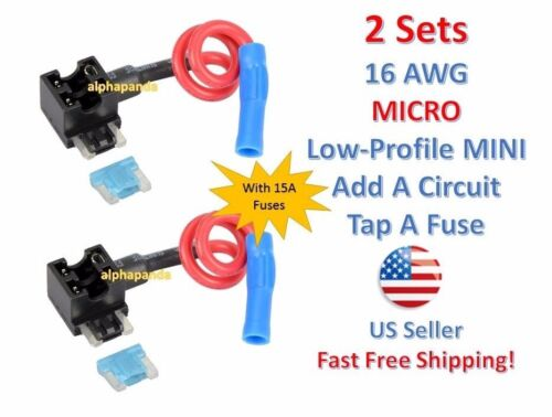2x Micro Low-Profile Mini Fuse Tap Holder Add-A-Circuit Blade Car Auto Truck 15A