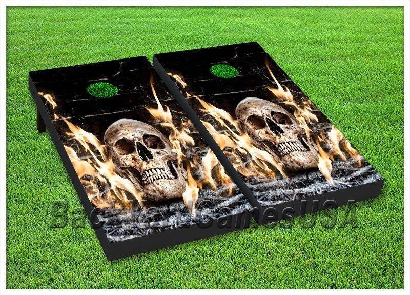 Cornhole Boards BEANBAG TOSS GAME w Bags Skull Skeleton Harley Biker Flames 163