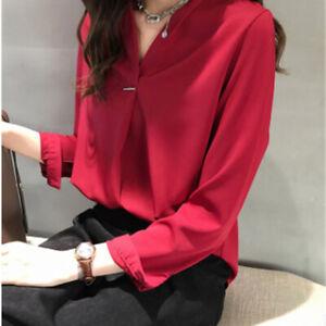 Women-Korean-Temperament-V-Neck-long-sleeve-Chiffon-Tops-Office-Blouse-Z