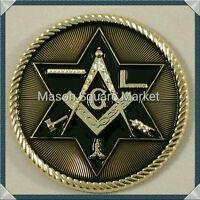 Freemason Masonic Car Emblem With Working Tools Gold & Black Tone