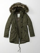 NWT ABERCROMBIE&FITCH LADY SHERPA LINED COLD WEATHER COAT MILITARY PARKA SIZE L