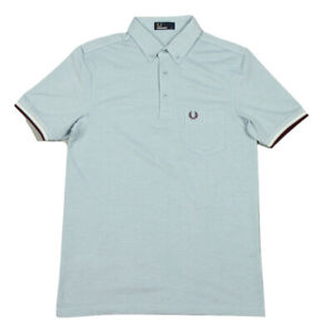 Fred-Perry-Mens-Oxford-Pique-Polo-Shirt-Short-Sleeved-Top-M2584-B60-Clay-Blue