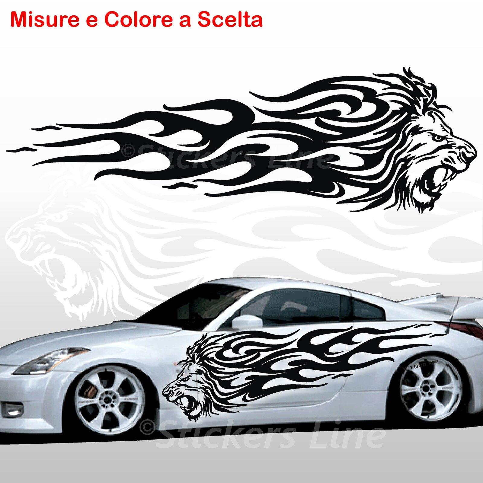 2 Klebstoffe leoni Flaming LION FLAME auto Stimmung Bewegung LKW Aufkleber lion