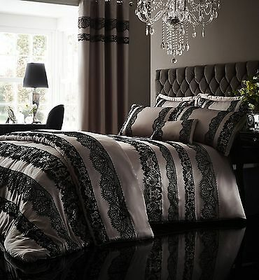 Catherine Lansfield Glamour Flock Lace Mocha Duvet Set And Accessories