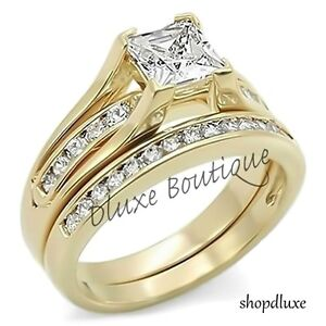 2-10-Ct-Princess-Cut-AAA-CZ-14k-Gold-Plated-Wedding-Ring-Set-Women-039-s-Size-5-10
