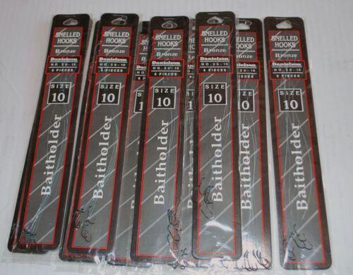 Lot 10 packs New Danielson Snelled Fishing Hooks size 10 Bronze 60 lines