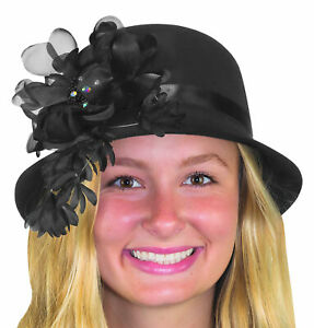 Womens Deluxe 1920s Black Flapper Hat Floral Jeweled Cloche Costume Accessory