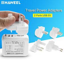 HAWEEL 2 Ports USB 5V Wall Charger Adapter (UK + EU + US + AU Plug) For Phone
