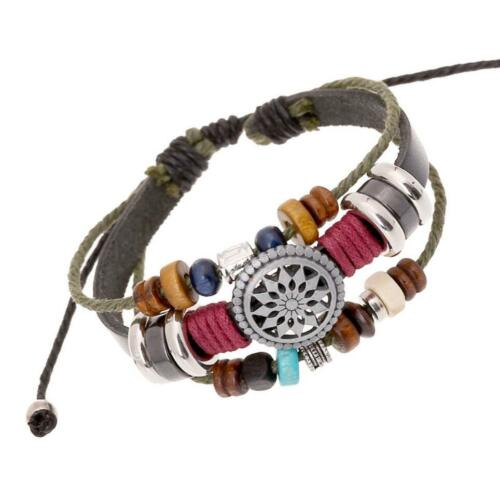 Homme Charme Cuir Enveloppez Bracelet Manchette Magnétique Boucle Ancre Bracelet Bangle