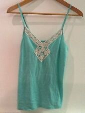 AMERICAN EAGLE OUTFITTERS green camisole tank top ivory crochet lace yoke XS