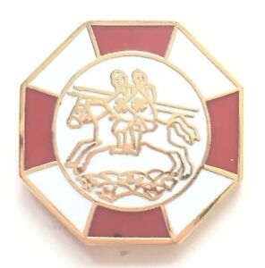 Details about Masonic 2 riders Knights Templar Gold Plated Enamel Lapel Pin  Badge